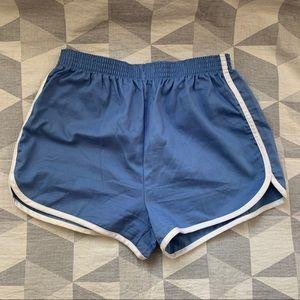 Vintage High Waist Gym Shorts, Blue, Size Medium